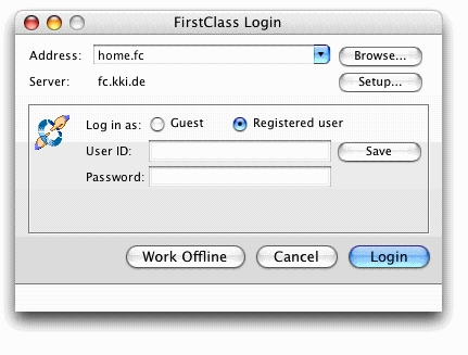 FirstClass Groupware Screenshot Login Installation Mac OS X