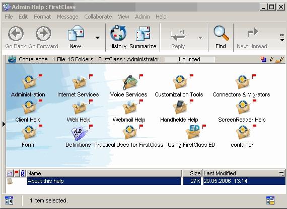 FirstClass Groupware Screenshot Admin Help Installation Linux